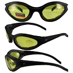 Motorcycle Sunglasses Yellow Lenses Raven