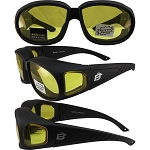 Fit Over Glasses Yellow Biker Sunglasses