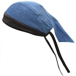 Blue Cotton Skull Cap with Black Leather