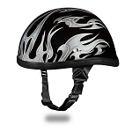 Novelty Motorcycle Helmet with Silver Flames