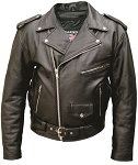 Big Men's Classic Leather Motorcycle Jacket