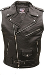 Men's Sleeveless Leather Motorcycle Jacket