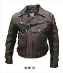 Big Men's Vented Leather Motorcycle Jacket Zip-Out Liner