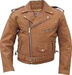 Men's Brown Leather Motorcycle Jacket