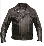 Men's Vented Black Leather Motorcycle jacket