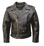 Men's Full Belt Leather Vented Motorcycle Jacket Z/O Lining