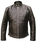 Men's Vented Leather Motorcycle Riding Jacket
