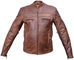 Men's Cafe Brown Vented Leather Motorcycle Jacket