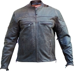 Men's Vented Brown Leather Motorcycle Jacket
