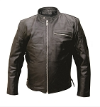Men's Leather Motorcycle Jacket with Zippered Pocket