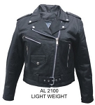 Ladies Basic Leather Motorcycle Jacket