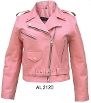 Ladies Pink Leather Motorcycle Jacket