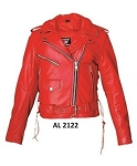 Ladies Red Leather Motorcycle Jacket
