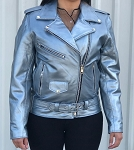 Ladies Silver Leather Motorcycle Jacket