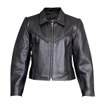 Ladies Braided Motorcycle Leather Jacket