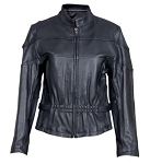 Ladies Vented Leather Motorcycle Jacket