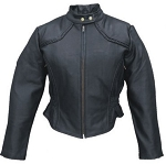 Ladies Leather Motorcycle Jacket with Braid Trim