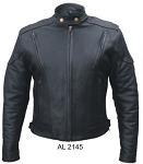 Ladies Vented Leather Motorcycle Touring Jacket