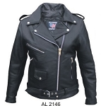 Ladies Full Belt Leather Motorcycle Jacket
