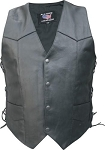 Men's Big Leather Motorcycle Vest with Side Laces