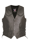 Men's Side Laced Braided Leather Vest