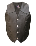 Men's Leather Motorcycle Vest with Buffalo Snaps