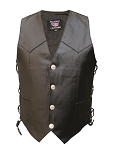 Men's Side Laced Leather Vest with Buffalo Snaps