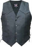Men's Side Laced Basic Plain Leather Vest