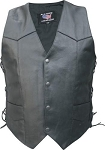 Mens Tall Leather Motorcycle Vest with Side Laces