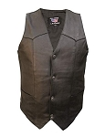 Men's Basic Leather Vest with Pockets