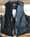 Men's Gun Pocket Leather Vest With Vest Extenders
