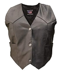 Ladies Plain Black Leather Vest