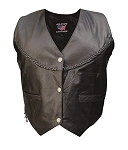 Ladies Black Leather Vest with Braid