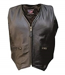 Ladies Leather Vest with Zipper Front