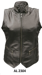 Ladies Leather Vest with Zippered Collar