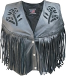 Ladies Black Rose Leather Vest with Fringe