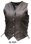 Ladies Braided Leather Motorcycle Vest
