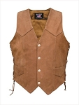 Ladies Brown Leather Vest with Side Laces