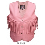 Ladies Pink Leather Vest with Fringe