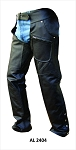 Leather Motorcycle Chaps with Spandex Waist