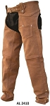 Brown Plain Leather Motorcycle Chaps