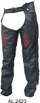 Ladies Red Rose Leather Motorcycle Chaps