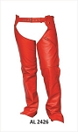 Women's Red Leather Motorcycle Chaps