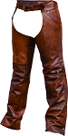 Plain lined Cafe Brown Leather Chaps
