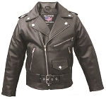 Kids Basic Leather Motorcycle Jacket