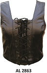 Ladies Leather Halter Top with Lacing