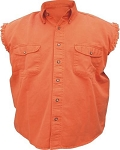 Men's Orange Sleeveless Shirt