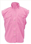 Womens Pink Sleeveless Shirt With Buttons