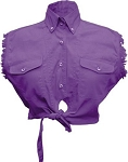 Ladies Purple Sleeveless Tie Up Shirt