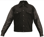 Men's Black Denim Jacket with Leather Sleeves